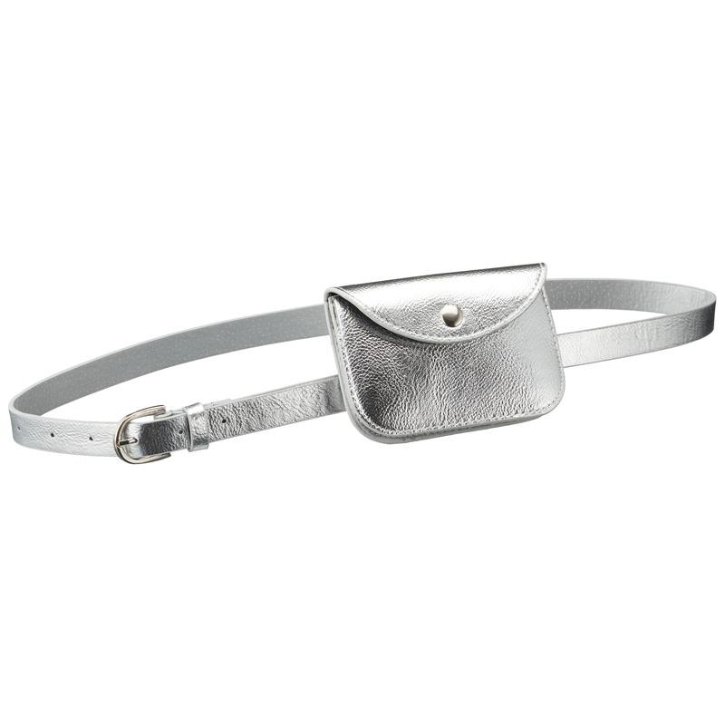 Zilver mini buideltasje aan riem voor dames