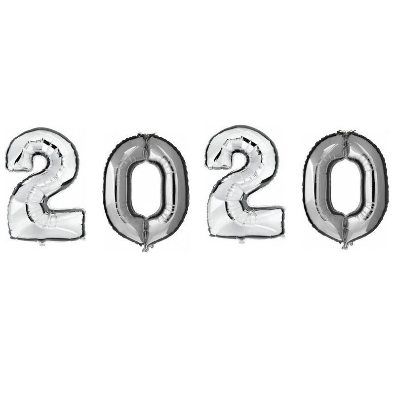 Zilveren 2020 jaarwisseling folieballonnen groot