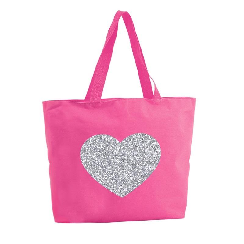 Zilveren hart glitter shopper tas fuchsia roze 47 cm