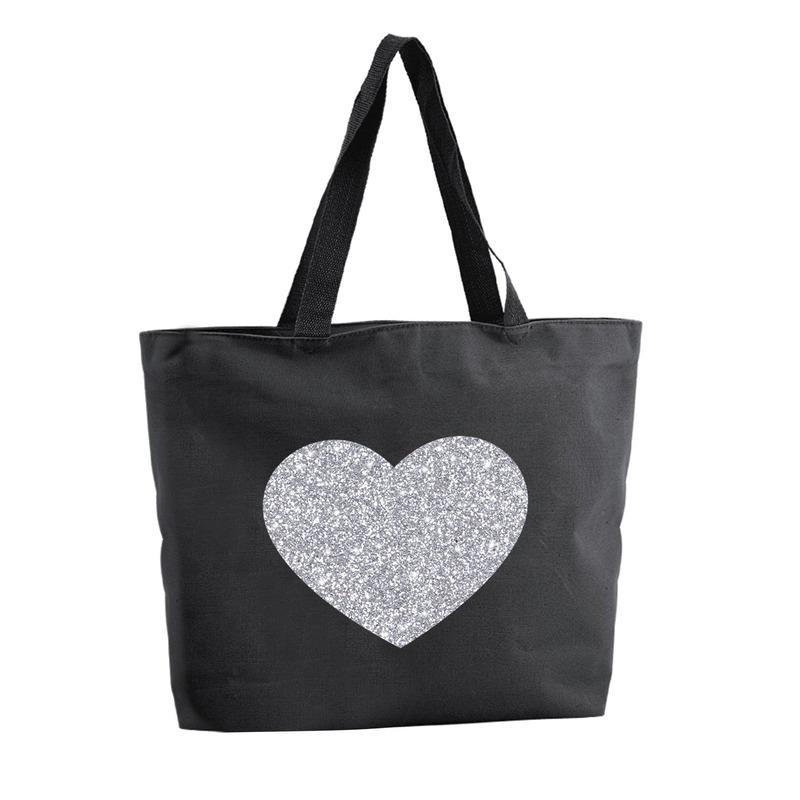 Zilveren hart glitter shopper tas zwart 47 cm