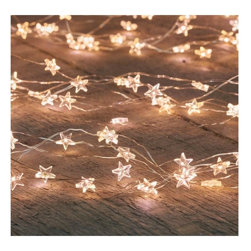 Zilveren kerstverlichting sterren met timer warm wit 2 meter
