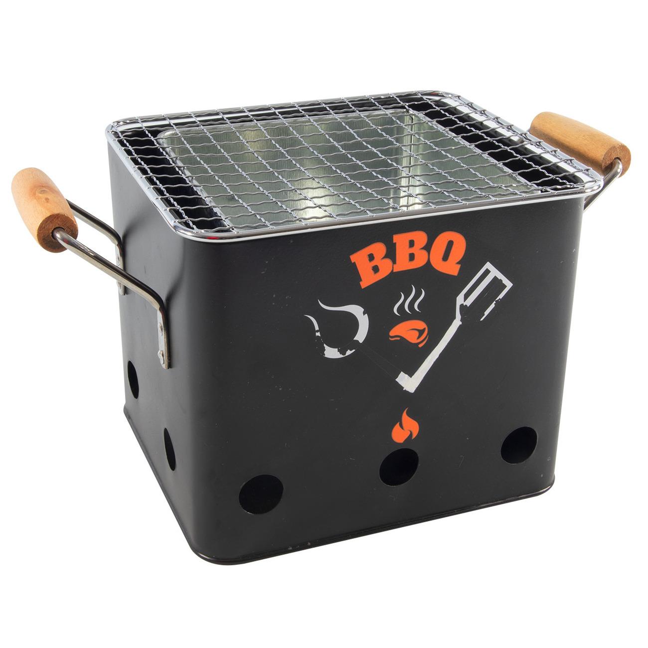 Zwarte barbecue-bbq tafelmodel 18 cm houtskool