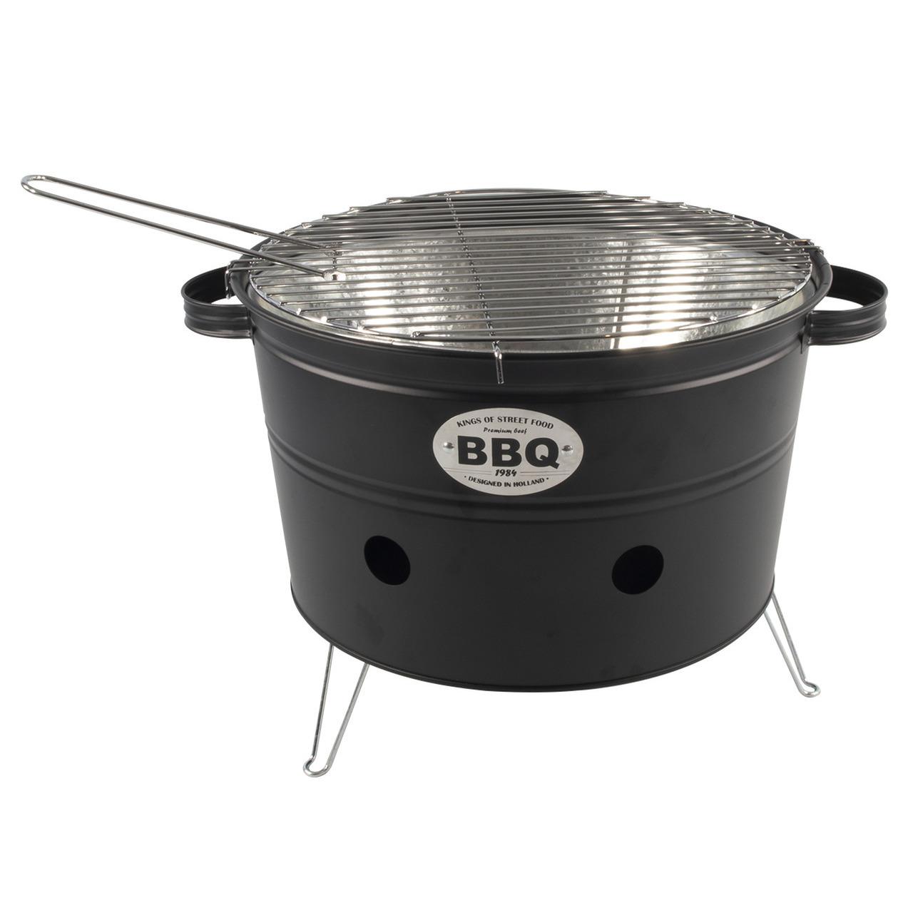 Zwarte barbecue-bbq tafelmodel 33 cm houtskool