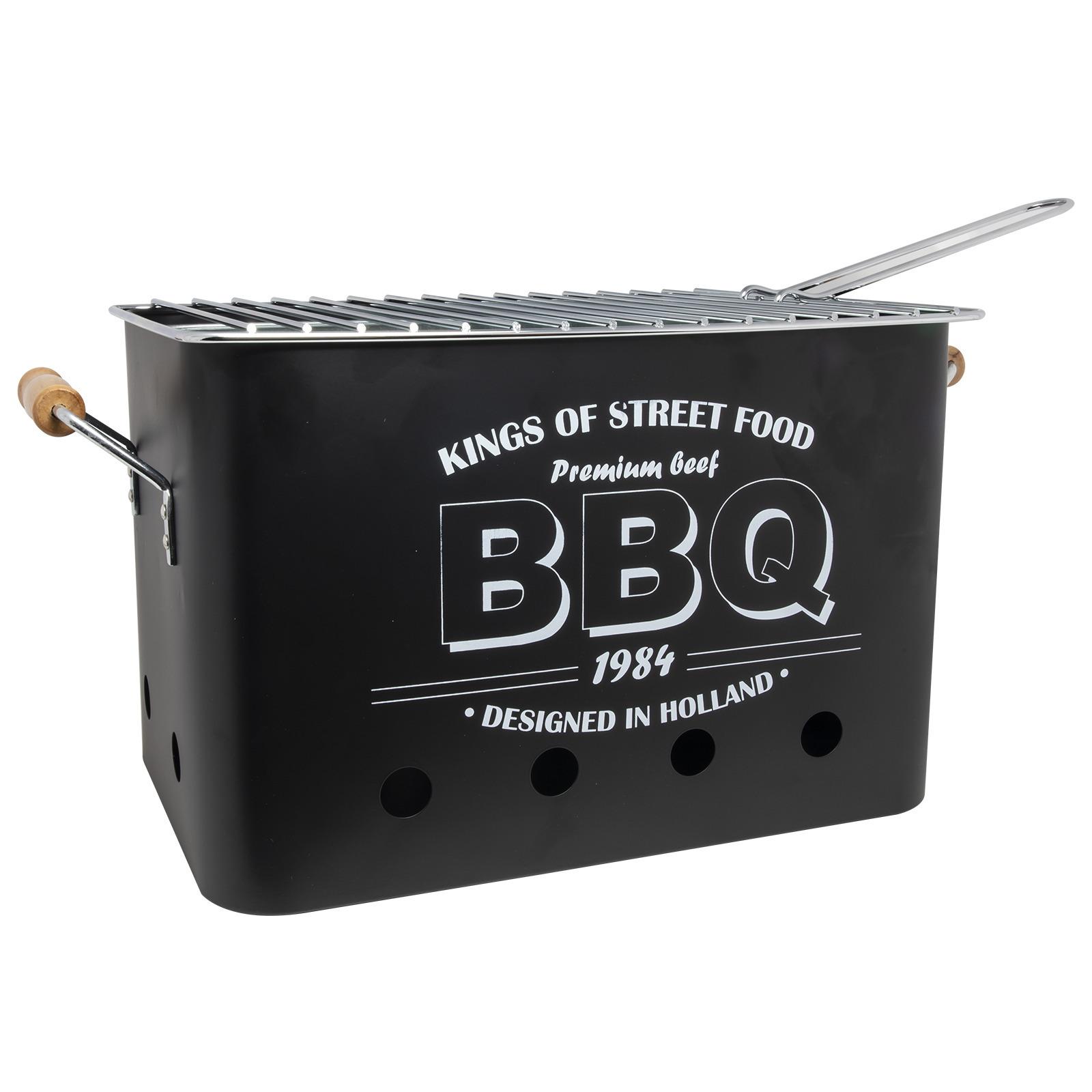 Zwarte barbecue-bbq tafelmodel 34 x 22 cm houtskool