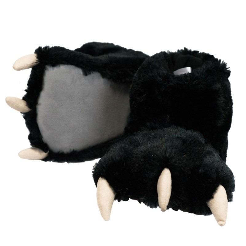 Zwarte beer poten pantoffels voor dames