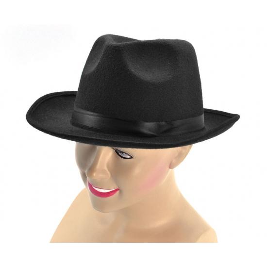 Zwarte gangster hoed met band