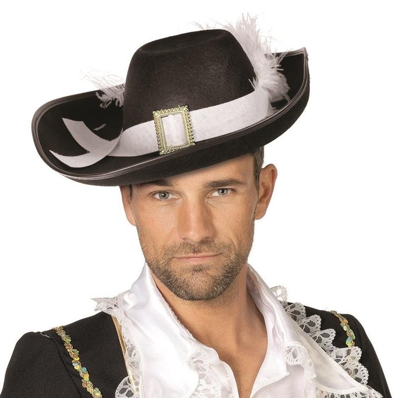 Zwarte hoed met witte veer