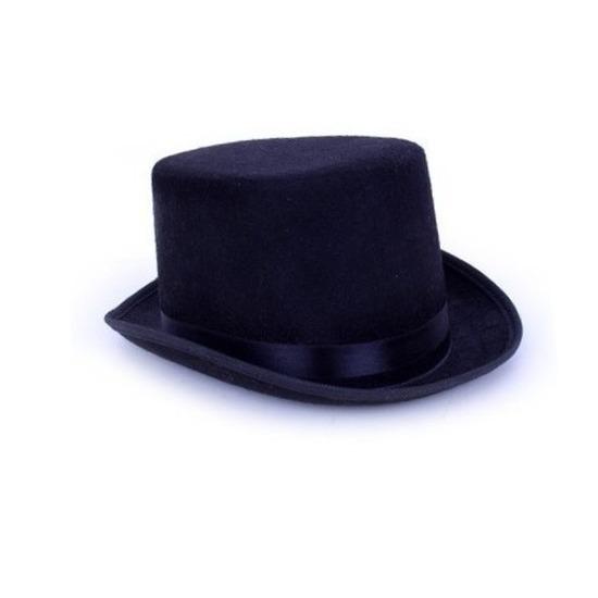 Zwarte hoge hoed van vilt voor een zwarte Graaf