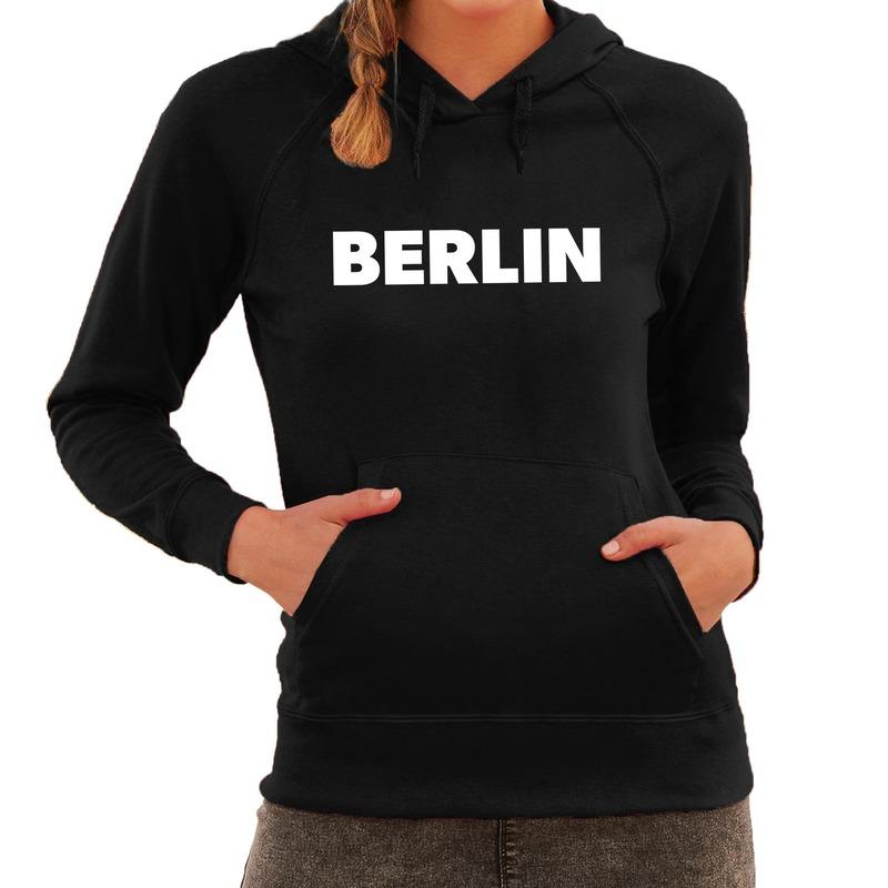 Zwarte trui met capuchon en Berlijn bedrukking dames