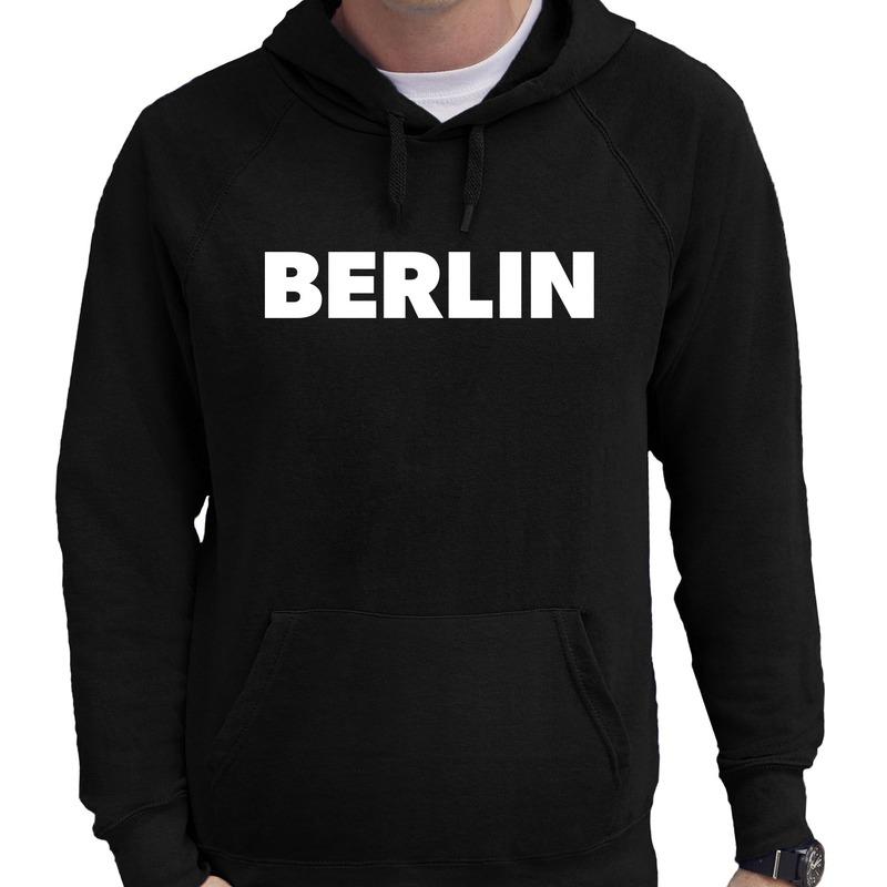 Zwarte trui met capuchon en Berlin bedrukking heren
